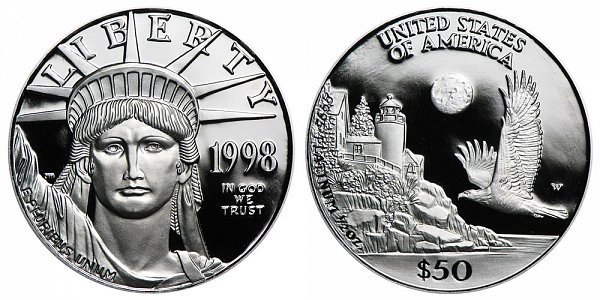 1998 W Proof Half Ounce American Platinum Eagle - 1/2 oz Platinum $50