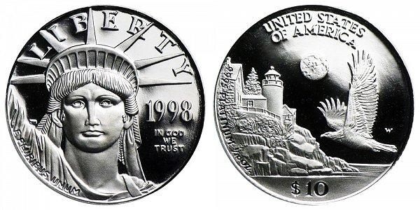 1998 W Proof Tenth Ounce American Platinum Eagle - 1/10 oz Platinum $10