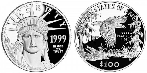 1999 W Proof One Ounce American Platinum Eagle - 1 oz Platinum $100