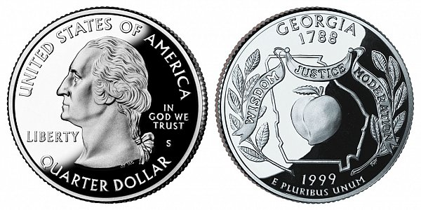 1999 S Silver Proof Georgia State Quarter
