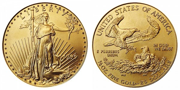 1999 Half Ounce American Gold Eagle - 1/2 oz Gold $25