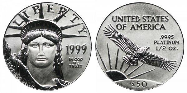 1999 Half Ounce American Platinum Eagle - 1/2 oz Platinum $50