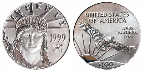 1999 One Ounce American Platinum Eagle - 1 oz Platinum $100