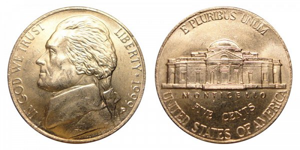 1999 P Jefferson Nickel