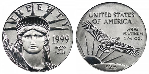 1999 Quarter Ounce American Platinum Eagle - 1/4 oz Platinum $25
