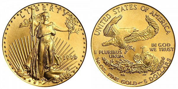 1999 Tenth Ounce American Gold Eagle - 1/10 oz Gold $5
