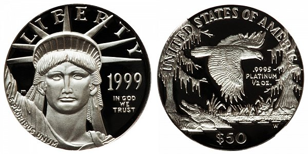 1999 W Proof Half Ounce American Platinum Eagle - 1/2 oz Platinum $50