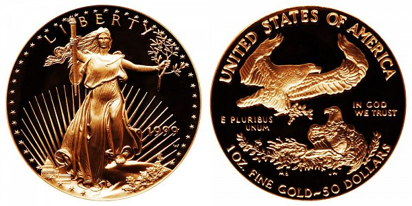 1999 W Proof One Ounce American Gold Eagle - 1 oz Gold $50