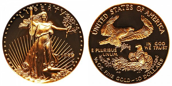 1999 W Proof Quarter Ounce American Gold Eagle - 1/4 oz Gold $10
