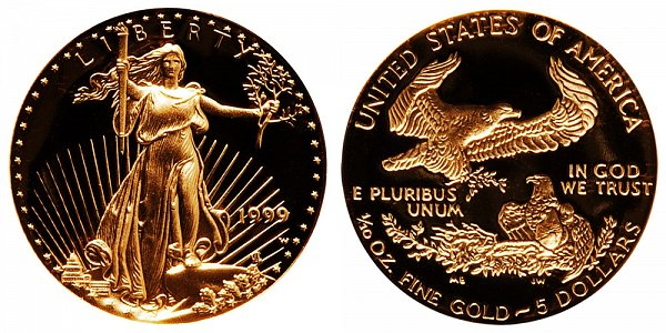 1999 W Proof Tenth Ounce American Gold Eagle - 1/10 oz Gold $5