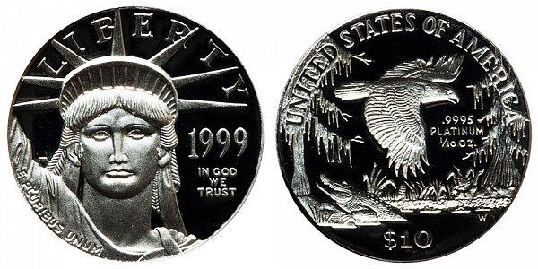 1999 W Proof Tenth Ounce American Platinum Eagle - 1/10 oz Platinum $10