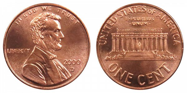 2000 D Lincoln Memorial Cent Penny