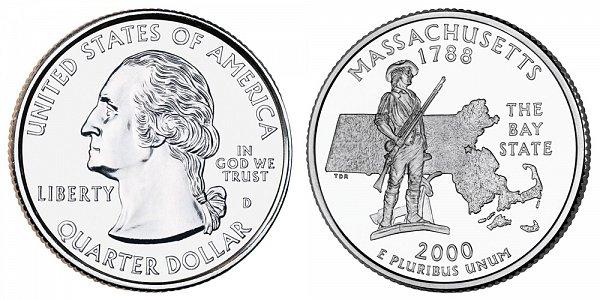 2000 D Massachusetts State Quarter