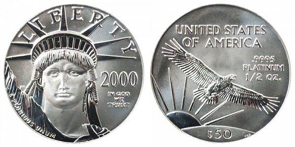 2000 Half Ounce American Platinum Eagle - 1/2 oz Platinum $50