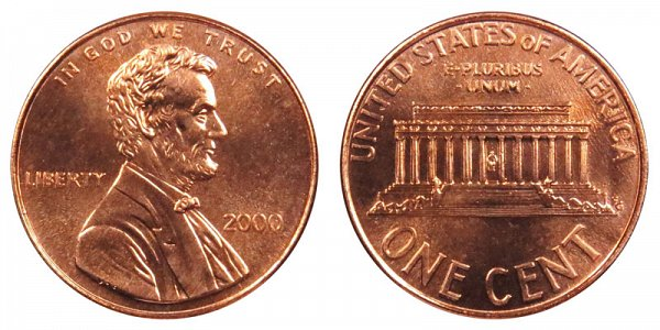2000 Lincoln Memorial Cent Penny