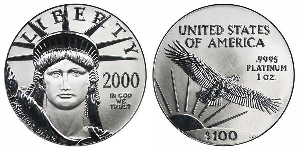 2000 One Ounce American Platinum Eagle - 1 oz Platinum $100