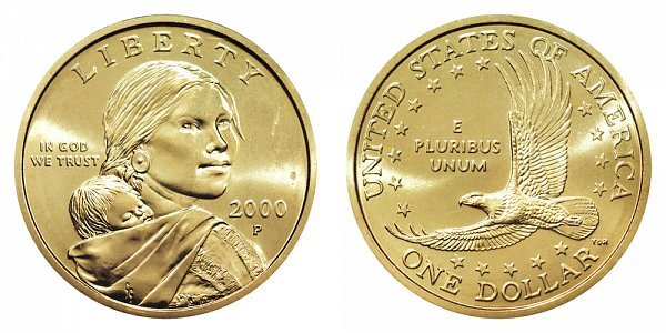 2000 P Cheerios Sacagawea Dollar - Boldly Detailed Tail Feathers