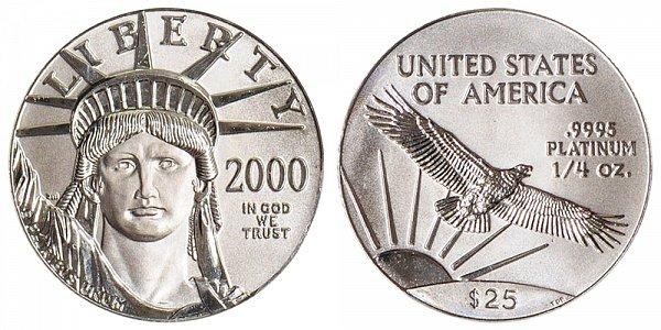 2000 Quarter Ounce American Platinum Eagle - 1/4 oz Platinum $25
