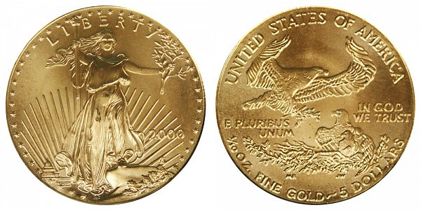 2000 Tenth Ounce American Gold Eagle - 1/10 oz Gold $5