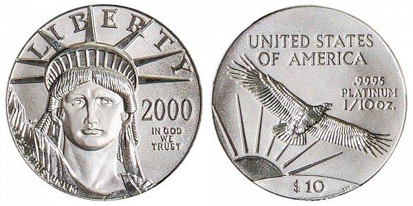 2000 Tenth Ounce American Platinum Eagle - 1/10 oz Platinum $10