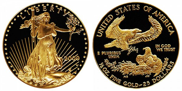 2000 W Proof Half Ounce American Gold Eagle - 1/2 oz Gold $25