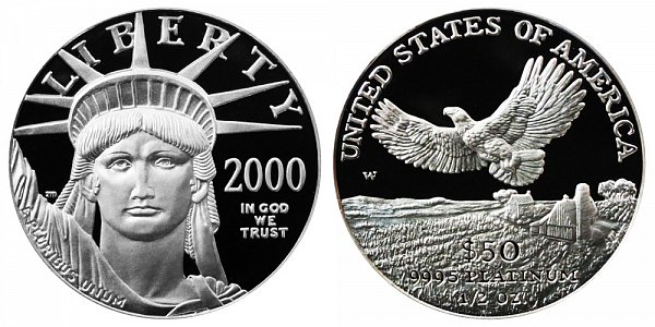2000 W Proof Half Ounce American Platinum Eagle - 1/2 oz Platinum $50