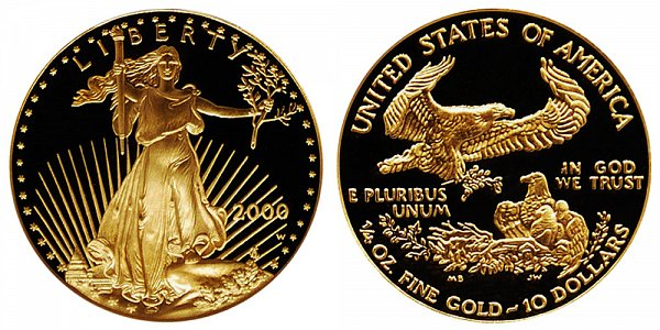 2000 W Proof Quarter Ounce American Gold Eagle - 1/4 oz Gold $10