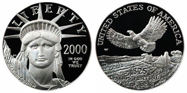 2000 W Proof Quarter Ounce American Platinum Eagle - 1/4 oz Platinum $25