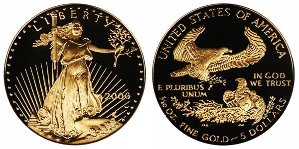2000 W Proof Tenth Ounce American Gold Eagle - 1/10 oz Gold $5