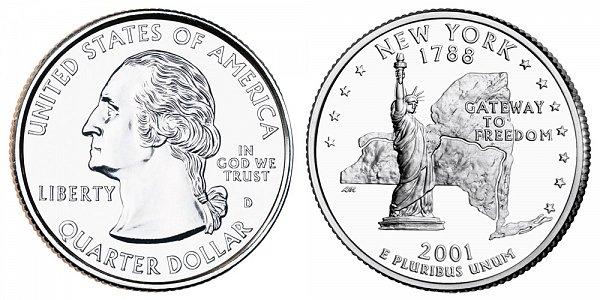 2001 D New York State Quarter