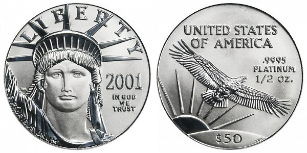 2001 Half Ounce American Platinum Eagle - 1/2 oz Platinum $50