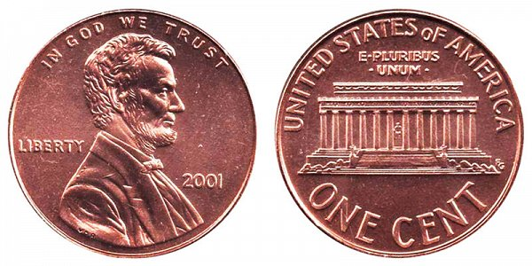 2001 Lincoln Memorial Cent Penny