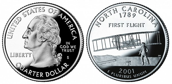 2001 S Proof North Carolina State Quarter
