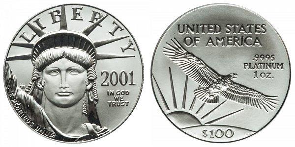 2001 One Ounce American Platinum Eagle - 1 oz Platinum $100