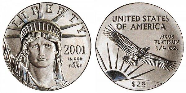 2001 Quarter Ounce American Platinum Eagle - 1/4 oz Platinum $25