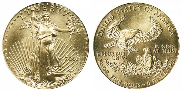 2001 Tenth Ounce American Gold Eagle - 1/10 oz Gold $5