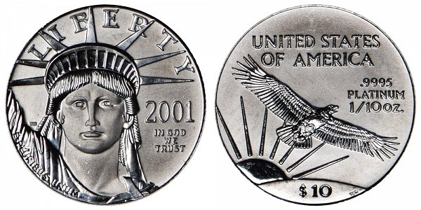 2001 Tenth Ounce American Platinum Eagle - 1/10 oz Platinum $10