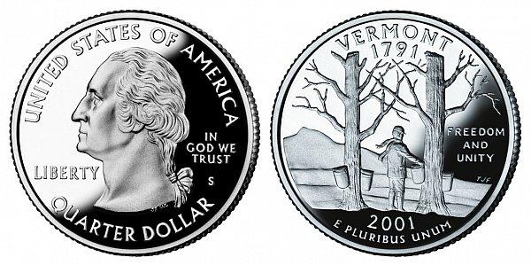 2001 S Proof Vermont State Quarter