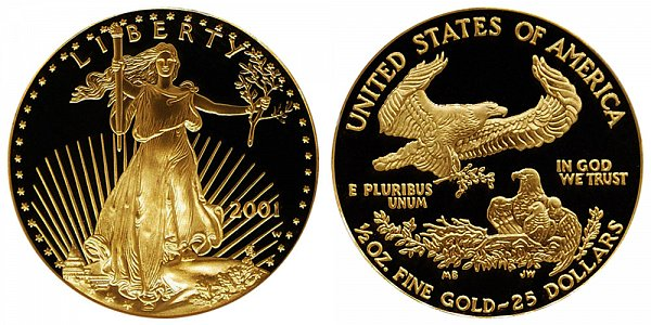 2001 W Proof Half Ounce American Gold Eagle - 1/2 oz Gold $25