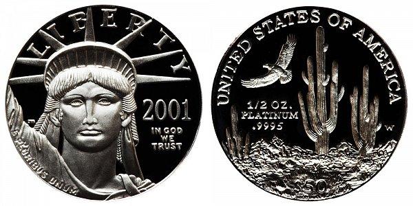 2001 W Proof Half Ounce American Platinum Eagle - 1/2 oz Platinum $50
