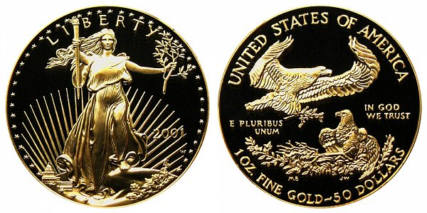 2001 W Proof One Ounce American Gold Eagle - 1 oz Gold $50