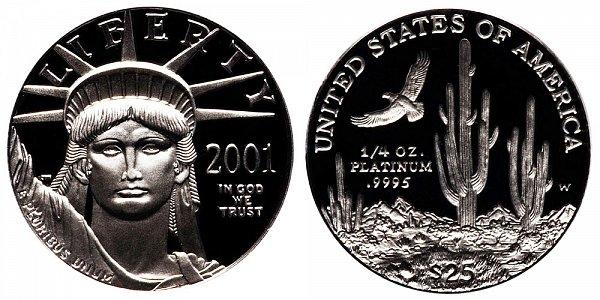 2001 W Proof Quarter Ounce American Platinum Eagle - 1/4 oz Platinum $25