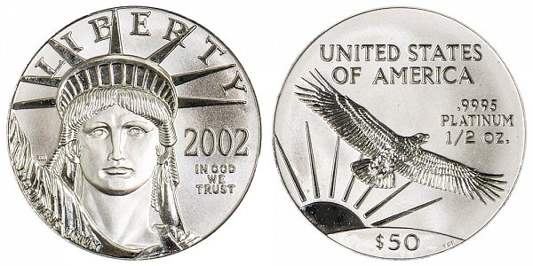 2002 Half Ounce American Platinum Eagle - 1/2 oz Platinum $50