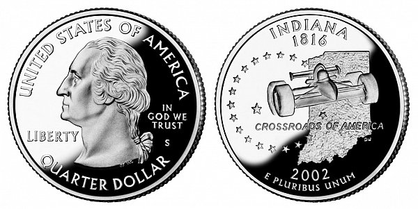 2002 S Proof Indiana State Quarter