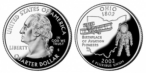 2002 S Silver Proof Ohio State Quarter