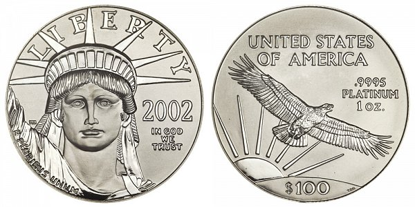 2002 One Ounce American Platinum Eagle - 1 oz Platinum $100