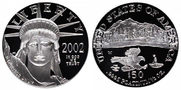 2002 W Proof Half Ounce American Platinum Eagle - 1/2 oz Platinum $50