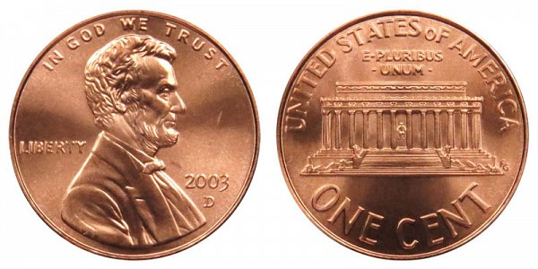 2003 D Lincoln Memorial Cent Penny