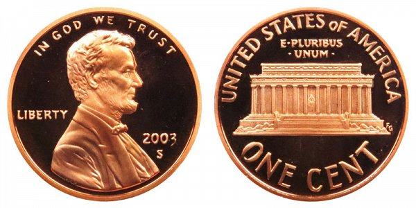 2003 S Lincoln Memorial Cent Penny Proof