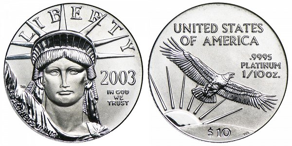 2003 Tenth Ounce American Platinum Eagle - 1/10 oz Platinum $10